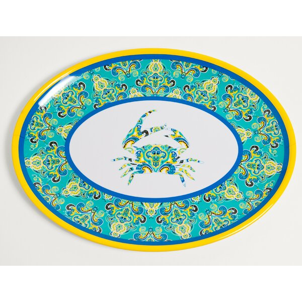 Yacht and Home Paisley Crab Melamine Oval Platter by Galleyware Company