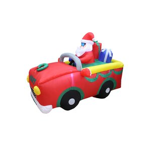 Santa Claus Riding on Red Car Christmas Inflatable