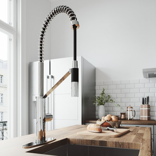 Livingston Magnetic Pull Down Single Handle Kitchen Faucet with Deck Plate by VIGO