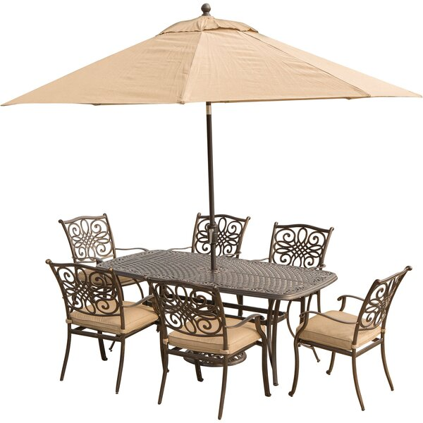 Carleton 7 Piece Rectangular Dining Set With Table Umbrella And Umbrella Stand And Cushions By Fleur De Lis Living