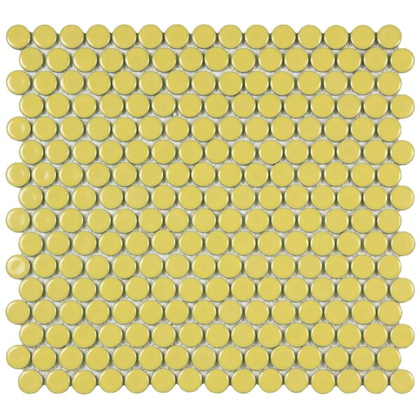 Penny 0.8 x 0.8 Porcelain Mosaic Tile in Vintage Yellow by EliteTile