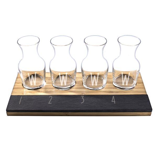 6 Piece Personalized Bamboo and Slate Wine Tasting Flight Decanter Set by Cathys Concepts