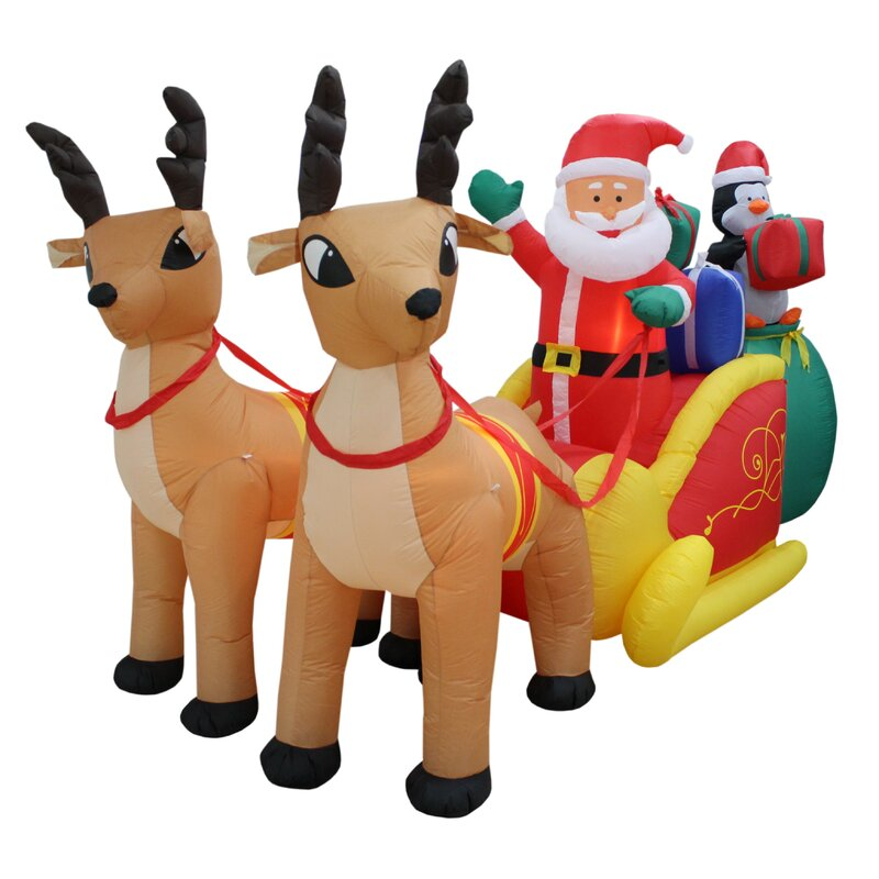 The Holiday Aisle Christmas Inflatable Santa Claus With Reindeer Sleigh And Penguin Yard Decoration Wayfair