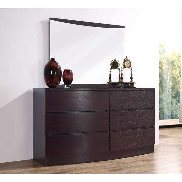 Carrabelle 6 Drawer Double Dresser with Mirror by Brayden Studio