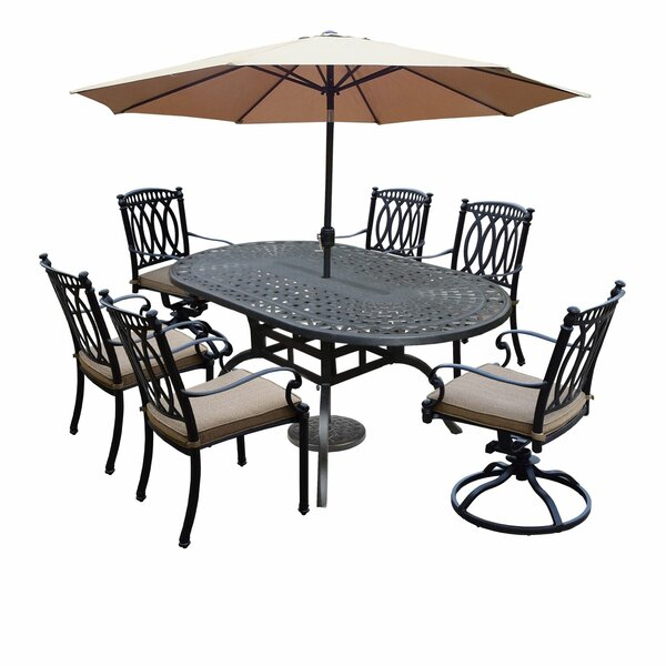 Otsego 9 Piece Rust-Free Aluminum Dining Set with Cushions and Umbrella by Darby Home Co