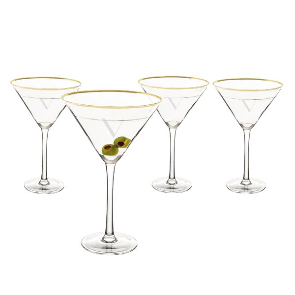Metz Personalized Rim 10 Oz. Martini Glass (Set of 4) by Latitude Run
