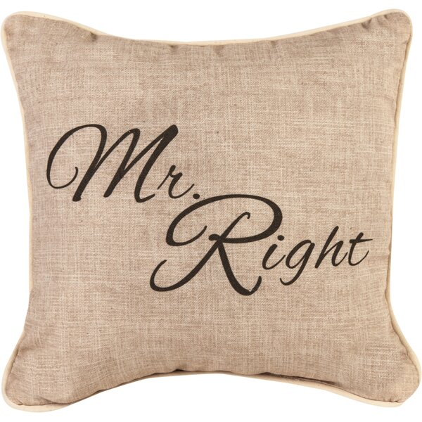 Mr. Right Cotton Throw Pillow by Manual Woodworkers & Weavers