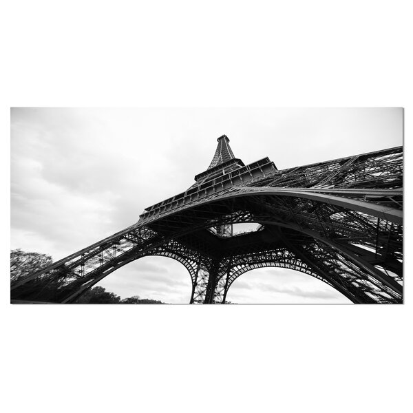 Paris Eiffel Tower in Black and White Side View Cityscape Photographic Print on Wrapped Canvas by Design Art
