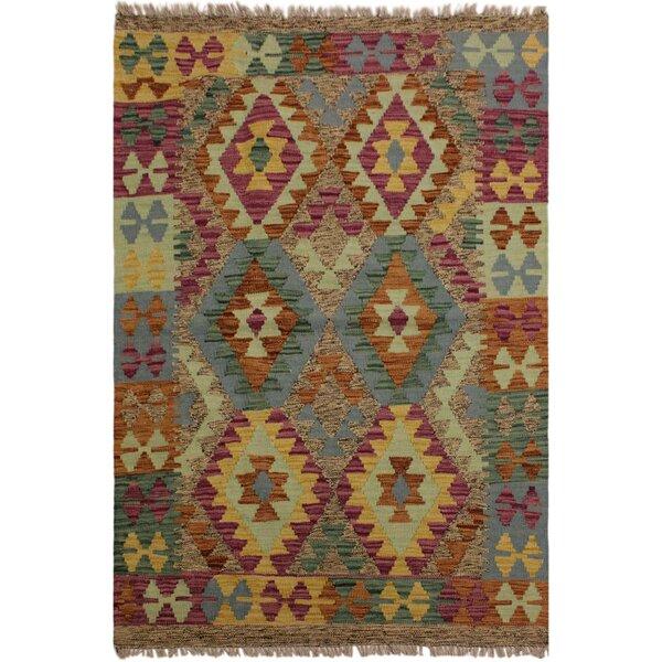 One-of-a-Kind Jorge Handmade Kilim Wool Beige/Purple Area Rug by Isabelline