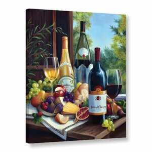 Still Life with Wines Graphic Art on Wrapped Canvas by Charlton Home