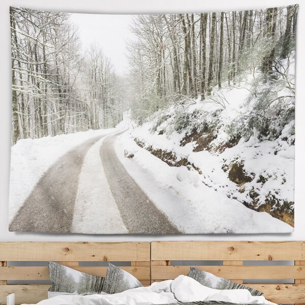 Landscape Snow Storm at Piornedo Spain Tapestry and Wall Hanging by East Urban Home