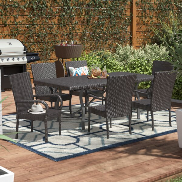 Connery Phelps Wicker 7 Piece Dining Set by Ivy Bronx