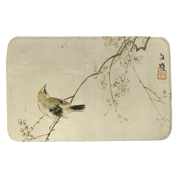 Steadman Vintage Japanese Bird and Blossoms Rectangle Non-Slip Bath Rug