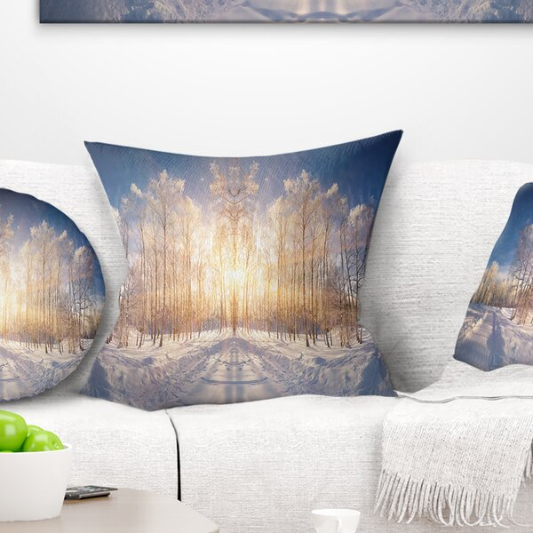 Landscape Horizontally Flipped Winter Land Pillow by East Urban Home