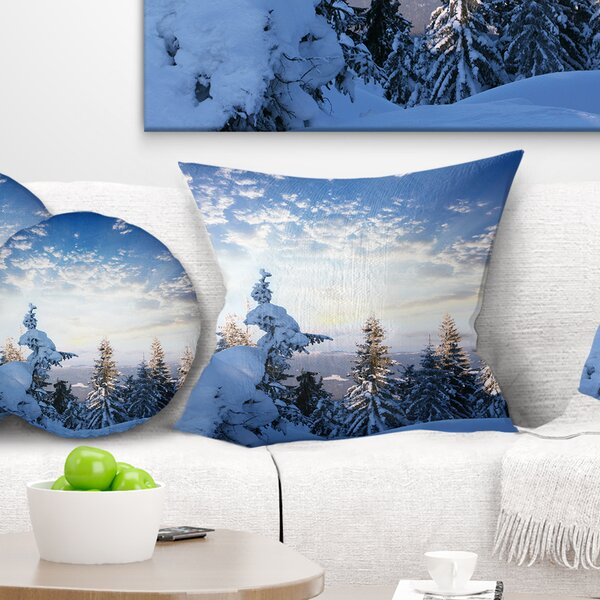 Landscape Wall Foggy Winter Forest Pillow by East Urban Home