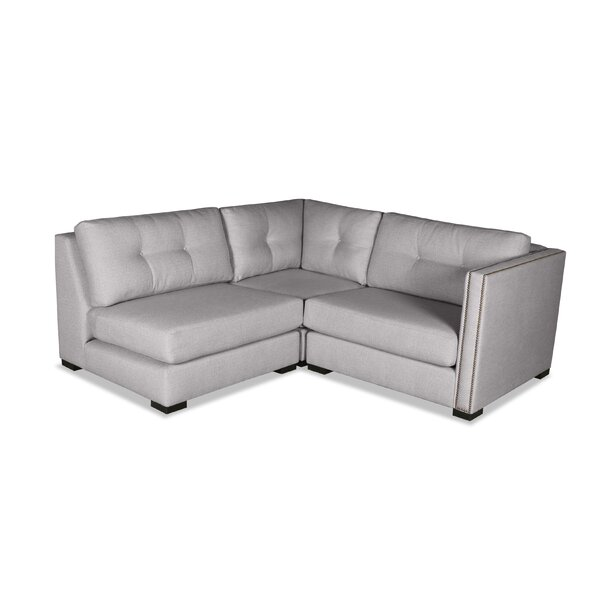 Fine Brand Timpson Buttoned L-Shape Mini Modular Sectional by Latitude Run by Latitude Run