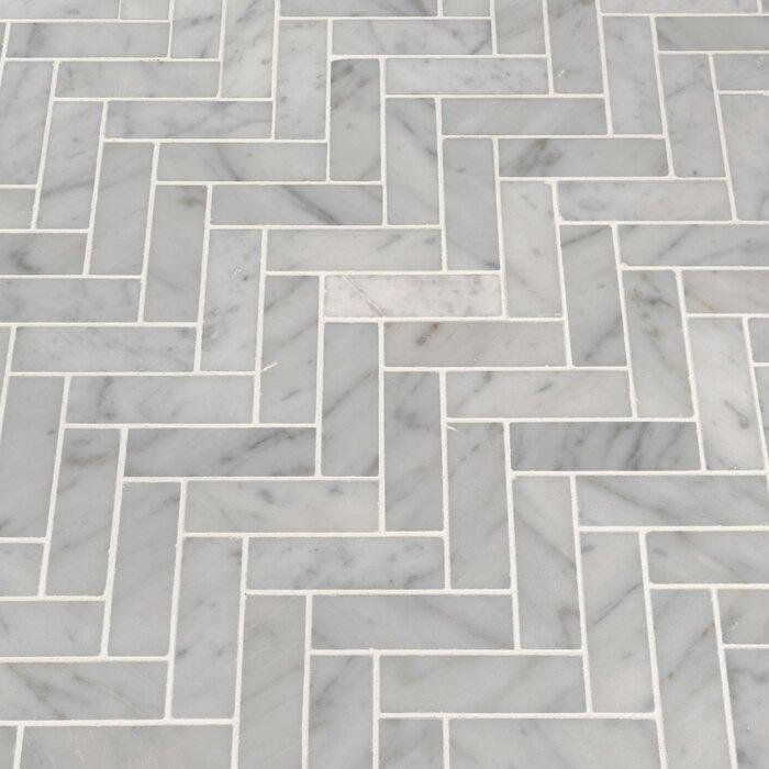 Carrara Herringbone 1 X 3 Marble Mosaic Tile
