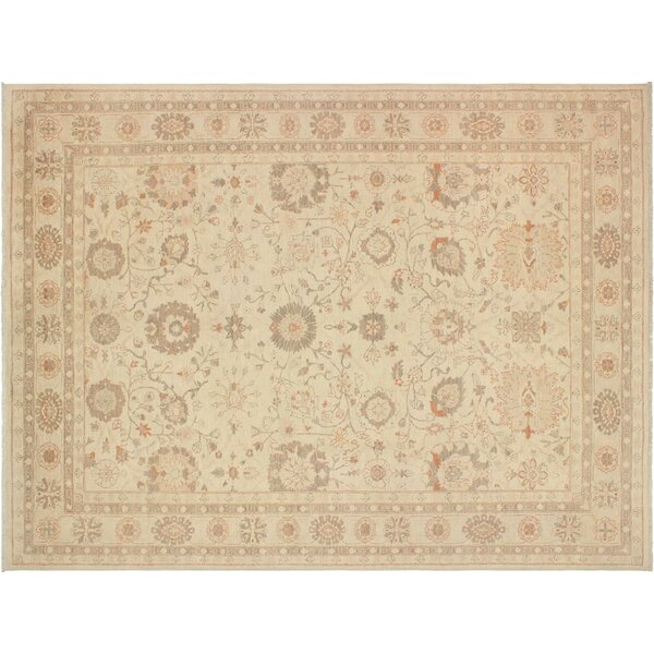 Xenos Oriental Hand-Knotted Rectangle Wool Tan Area Rug by Astoria Grand