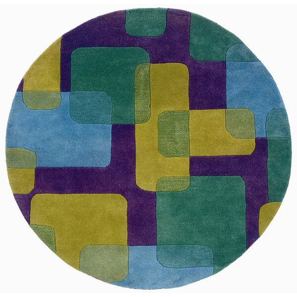 Leanne Purple Squares and Rectangles Rug by Zoomie Kids