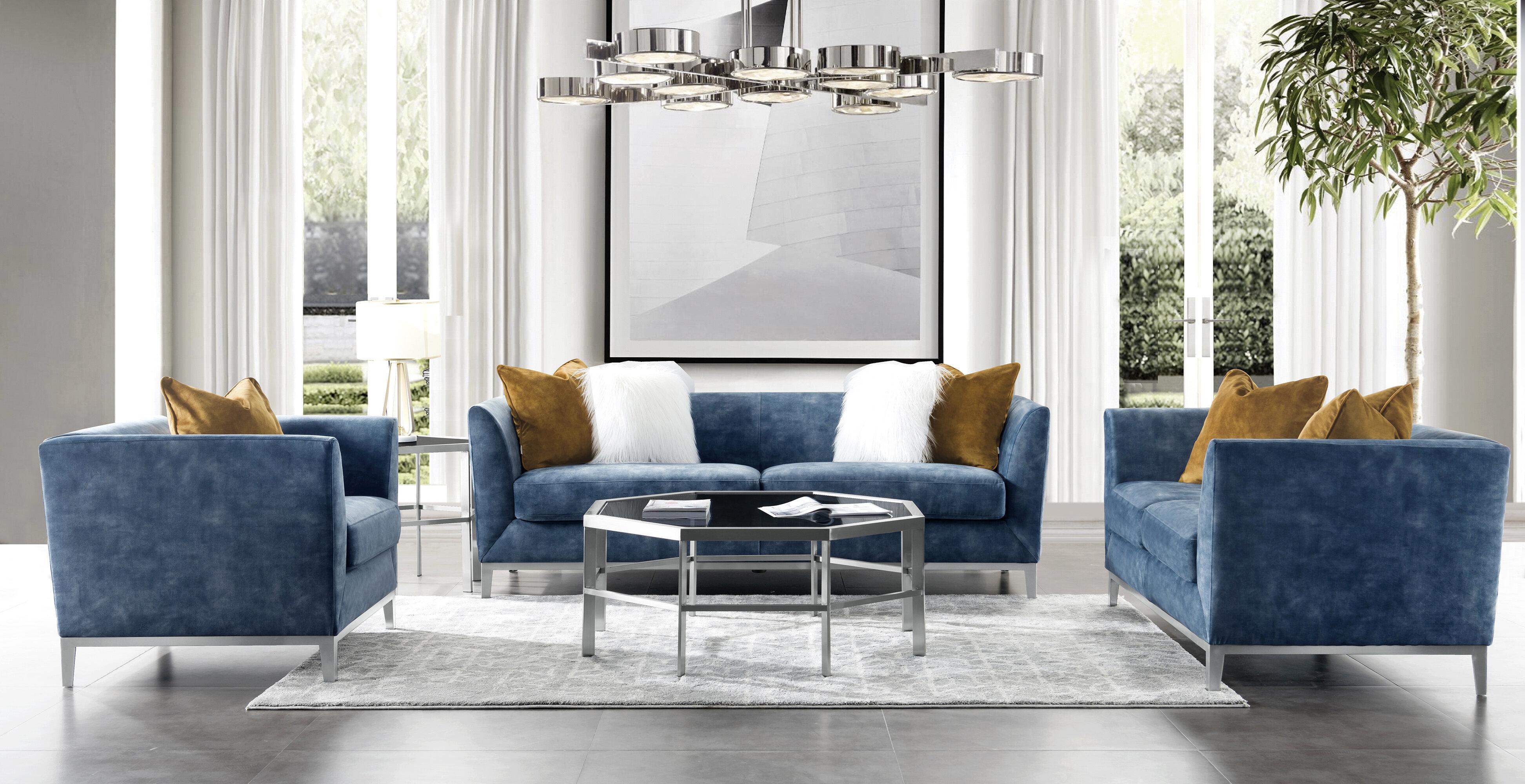 Acanva Mid-Century Modern Velvet 9 Piece Living Room Set