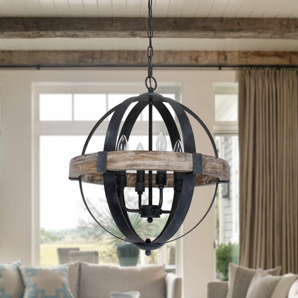 Landwehr 4 - Light Candle Style Globe Chandelier with Wood Accents by Gracie Oaks Gracie Oaks