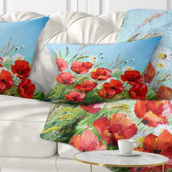 Floral Poppies in Field against Sky Lumbar Pillow by East Urban Home