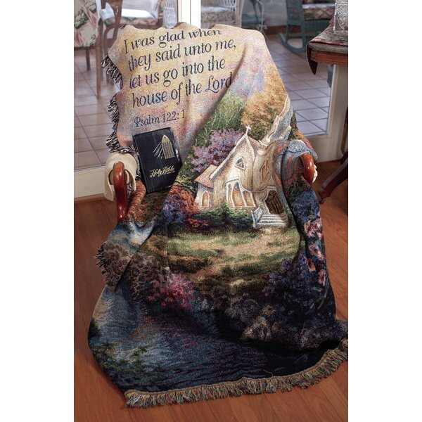 Church in the Country Verse Tapestry Cotton Throw by Manual Woodworkers & Weavers