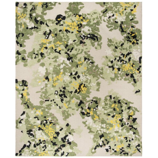 Bertha Hand-Knotted Green/Beige Area Rug by August Grove