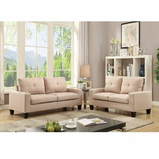 2 Pcs Pack Gray Linen Sofa+Loveseat Set Platinum Sectional Couch by Latitude Run®