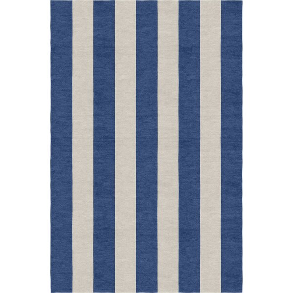 Clayborn Stripe Hand-Woven Wool Silver/Navy Blue Area Rug by Rosecliff Heights
