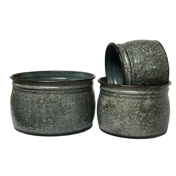 Arquette 3-Piece Metal Pot Planter Set by Gracie Oaks