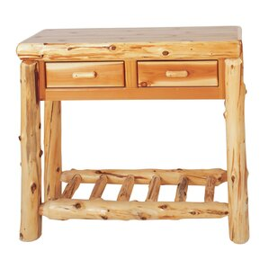 Traditional Cedar Log Two Drawers Console Table by Fireside Lodge