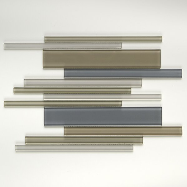 Geneva Random Sized Glass Mosaic Tile in Classic Willow Water by Itona Tile