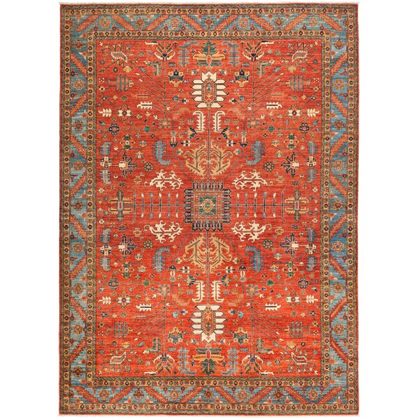 One-of-a-Kind Heineman Hand Knotted Wool Red Area Rug by Bloomsbury Market