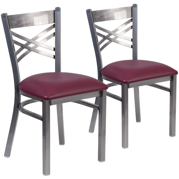 MacArthur Coated ''X'' Back Metal Restaurant Side Chair (Set of 2) by Ebern Designs
