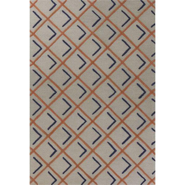 Soho Square Hand-Tufted Wool Tangerine/Indigo Cooper Area Rug by Libby Langdon