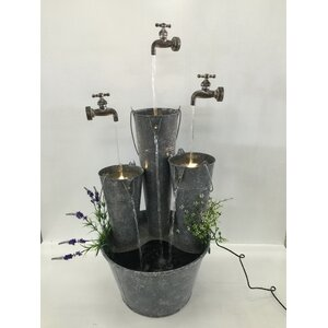 Metal Pails in Large Pail Three Taps Fountain with LED Light