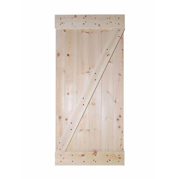 Wood 1 Panel Unfinished Interior Barn Door by Calhome