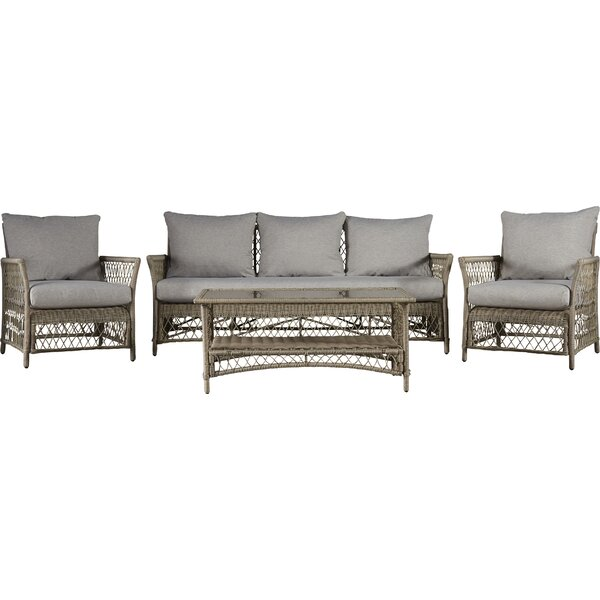 Euler 4 Piece Rattan Sofa Seating Group with Cushions by Beachcrest Home