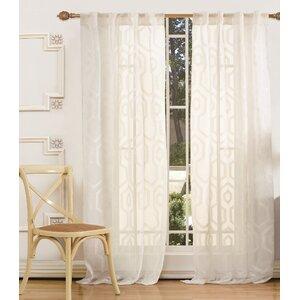 Emelda Modern Geometric Semi-Sheer Rod Pocket Curtain Panels (Set of 2)