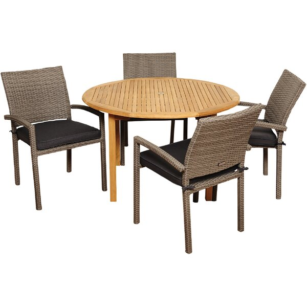 Brighton 5 Piece Teak Dining Set with Cushions by Sol 72 Outdoor