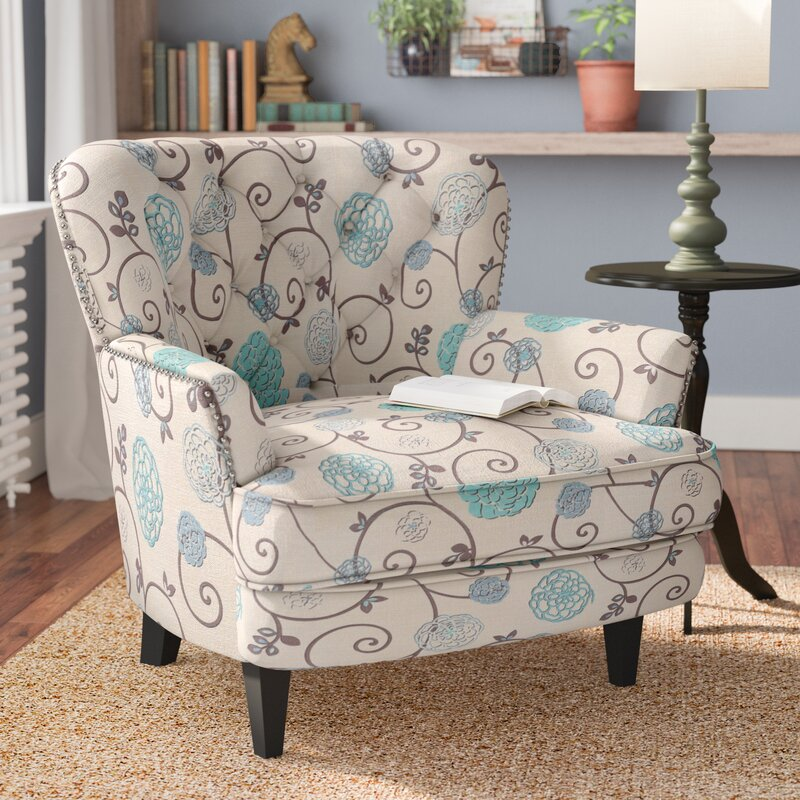andover mills hamburg floral armchair reviews wayfair. Black Bedroom Furniture Sets. Home Design Ideas