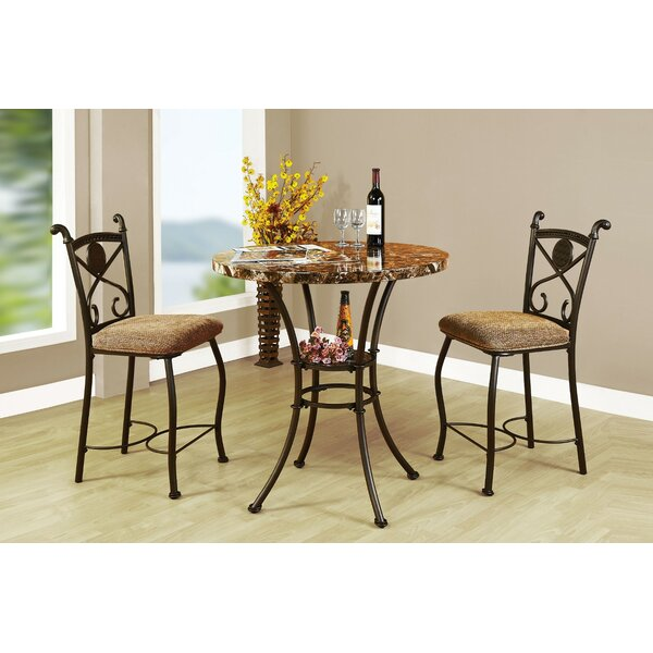 Goshorn 3 Piece Counter Height Dining Set by Fleur De Lis Living