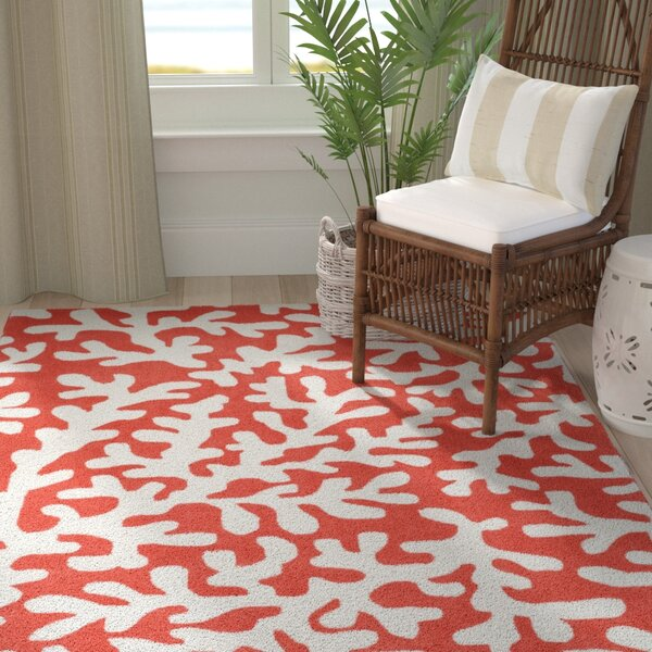 Charlestown Novelty Hand-Tufted Bright Orange/Ivory Area Rug by Highland Dunes