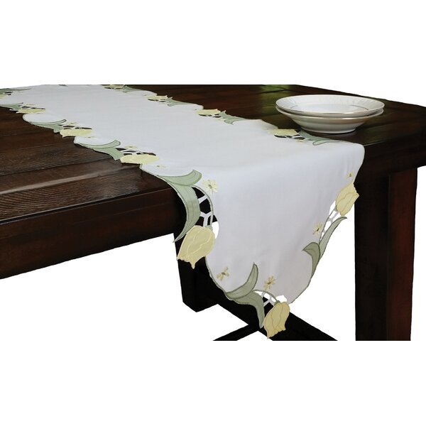 Spring Tulip Embroidered Cutwork Table Runner by Xia Home Fashions