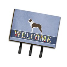 Boston Terrier Welcome Leash or Key Holder by Caroline's Treasures