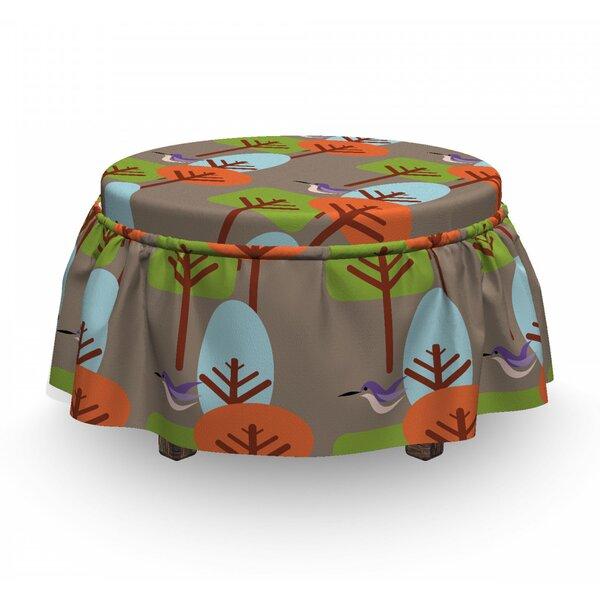 Mid Century Modern Nature Art 2 Piece Box Cushion Ottoman Slipcover Set By East Urban Home