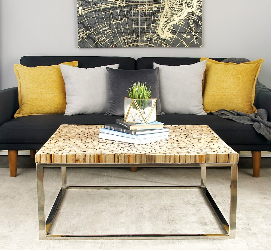 Cole & Grey Stainless Steel and Teak Coffee Table ...