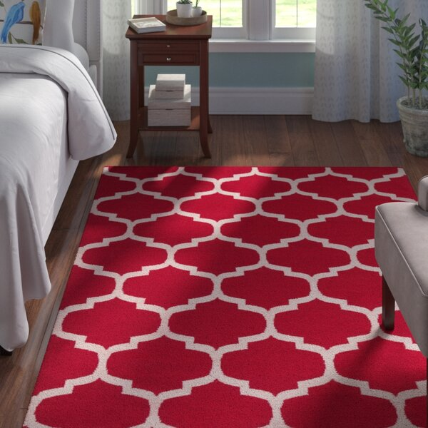 Bohannon Red & Off White Geometric Area Rug by Andover Mills