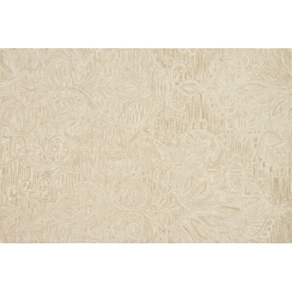 Darryl Hand-Hooked Sand Area Rug by House of Hampton